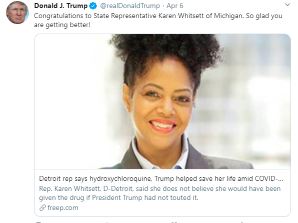 Detroit rep says hydroxychloroquine, Trump helped save her life amid COVID-19 fight